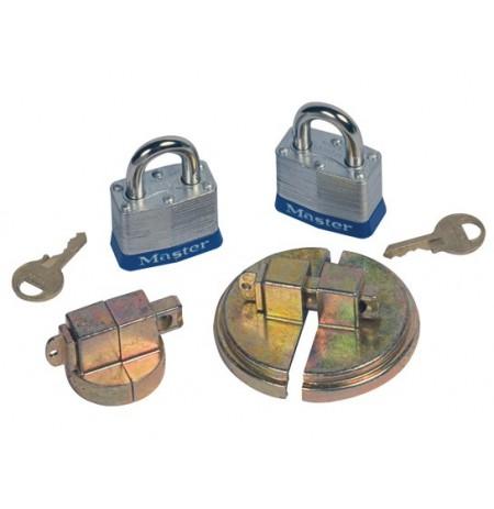 "Drum Lock Set for Steel Drums, 1 set fits 2"" bung, 1 set fits 3/4"" bung, 2 lock bars, 2 padlocks"