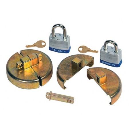 """Drum Lock Set for Plastic Drums, 2 units fit 2"""" bung, 2 lock bars. 2 padlocks."""