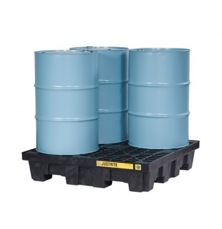 EcoPolyBlend™ Spill Control Pallet, 4 drum square, with drain, recycled polyethylene