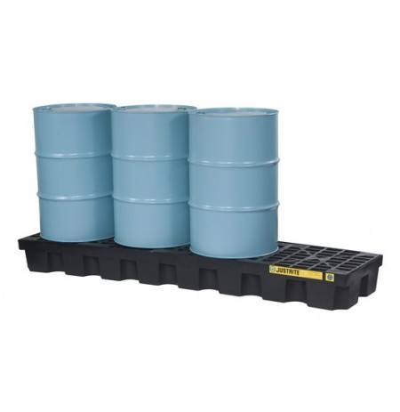 EcoPolyBlend™ Spill Control Pallet with drain, 4 drum in-line, recycled polyethylene