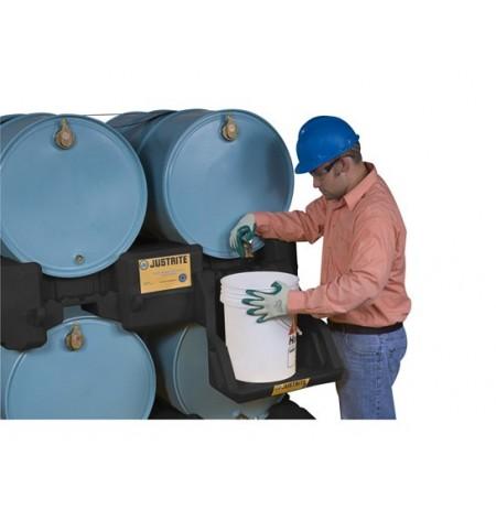 EcoPolyBlend™ Drum Management Stack Module, dispensing shelf optional, forklift channels, poly, Black