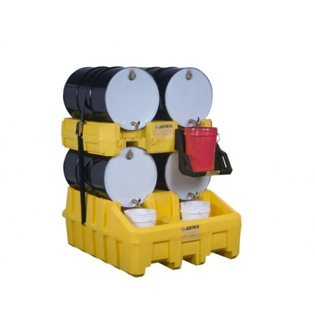 Drum Management Stack Module, dispensing shelf optional, forklift channels, poly, Yellow