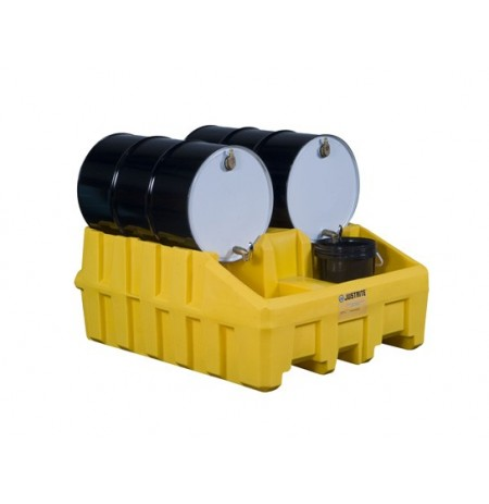 Drum Management Base Module, dispensing well, forklift channels, poly, Yellow.