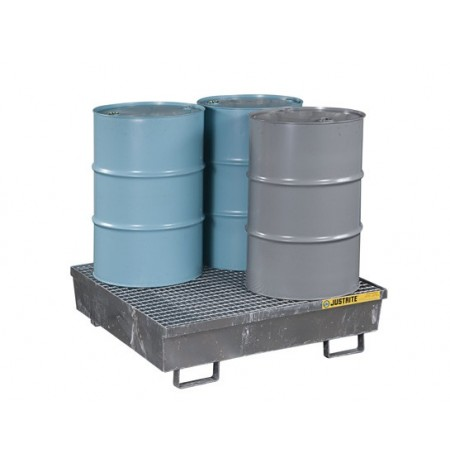Steel Pallet with galvanized steel bar grating, forklift pockets, 4-drum square