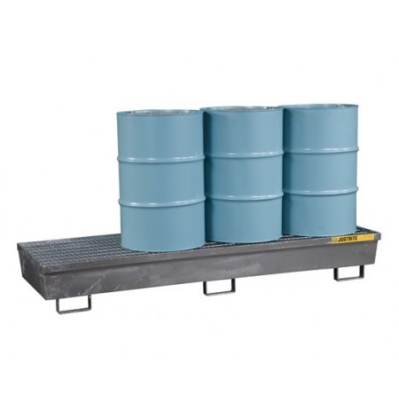 Steel Pallet with galvanized steel bar grating, forklift pockets, 4 drum in-line