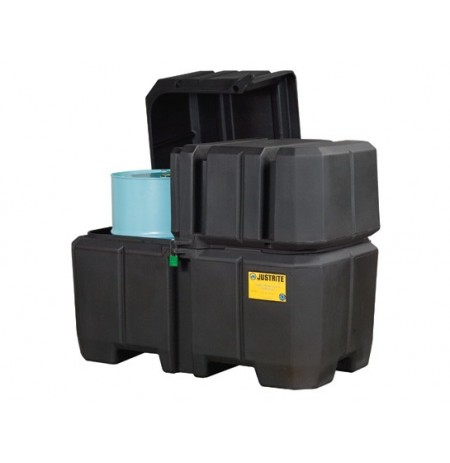 EcoPolyBlend™ Double Drum Collection Center, dual covers, forklift channels, recycled content, Black