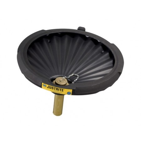 EcoPolyBlend™ Funnel for flammables with drum fill vent and flame arrester, recycled content, Black