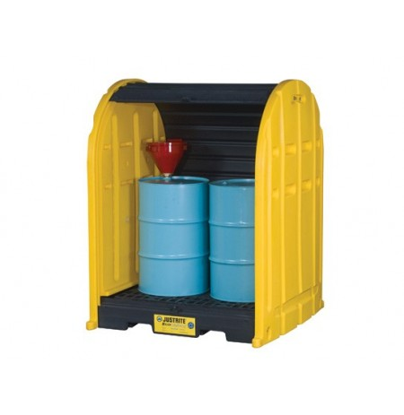 EcoPolyBlend™ DrumShed™ with rolltop doors, accommodates 2 drums, polyethylene