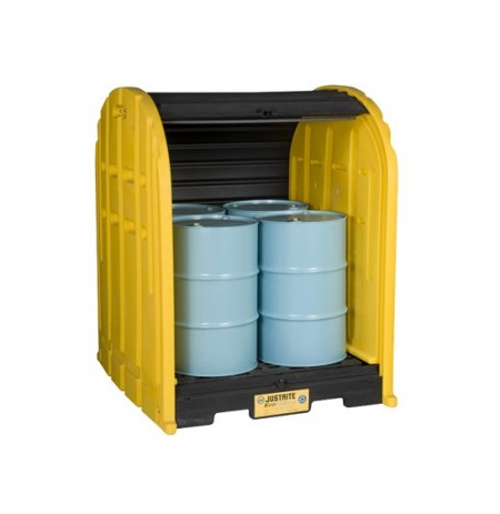 EcoPolyBlend™ DrumShed™ with rolltop doors, accommodates 4 drums, polyethylene.