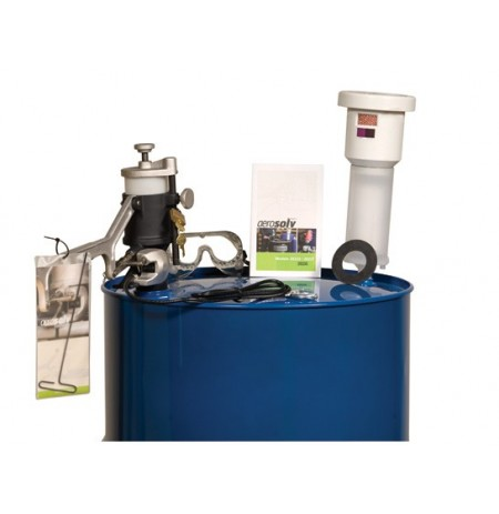 Aerosolv® Super System for recycling aerosol cans, puncturing unit, filter, wire, counter, and goggles.