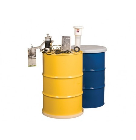 Aerosolv® Dual Compliant System for recycling aerosol cans, puncturing unit, filter, wire, counter, and goggles.