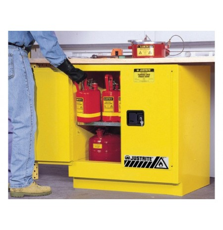Sure-Grip® EX Undercounter Flammable Safety Cabinet, Cap. 22 gallons, 1 shelf, 2 m/c doors