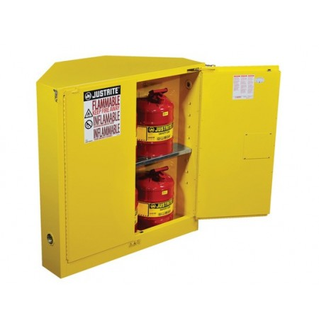 SURE-GRIP® EX CORNER FLAMMABLE SAFETY CABINET, CAP. 30 GALLONS, 1 SHELF, 2 S/C DOORS