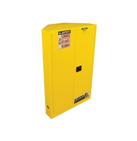 SURE-GRIP® EX CORNER FLAMMABLE SAFETY CABINET, CAP. 45 GALLONS, 2 SHELVES, 2 M/C DOORS