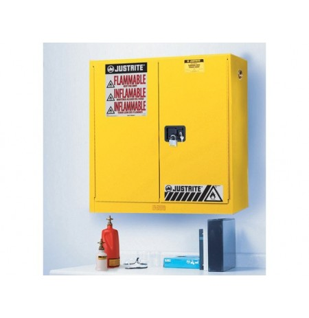 Sure-Grip® EX Wall Mount Flammable Safety Cabinet, Cap. 20 gallons, 5 shelves, 2 m/c doors