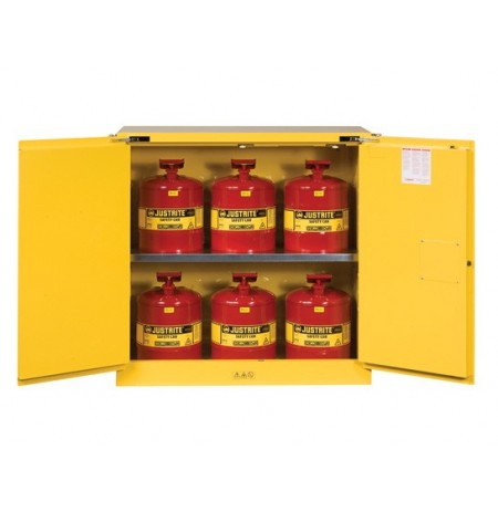 Sure-Grip® EX Safety Cabinet/Can Package, Cap. 30-gal. cabinet w/cans, 2 shlvs, 2 s/c doors