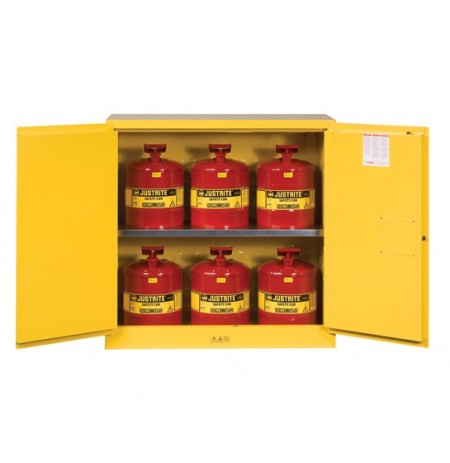Sure-Grip® EX Safety Cabinet/Can Package, Cap. 30-gal. cabinet w/cans, 2 shlvs, 2 m/c doors