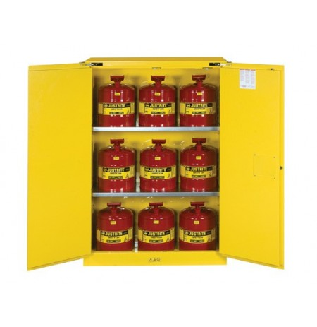 Sure-Grip® EX Safety Cabinet/Can Package, Cap. 45-gal. cabinet w/cans, 2 shlvs, 2 s/c doors
