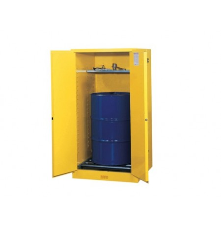 Sure-Grip® EX Vertical Drum Safety Cabinet and Drum Rollers, Cap. 55 gal., 1 shelf, 2 s/c doors