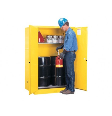 Sure-Grip® EX Vertical Drum Safety Cabinet and Drum Rollers, Cap. 60 gal., 1 shelf, 2 m/c doors