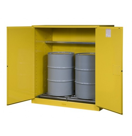Sure-Grip® EX Vertical Drum Safety Cabinet and Drum Rollers, Cap. 110 gal., 1 shelf, 2 m/c doors
