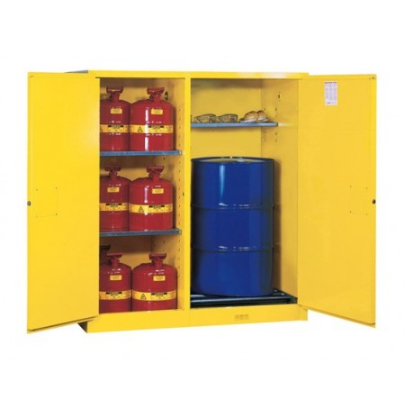 Sure-Grip® EX Dbl-Duty Safety Cabinet w/Drm Rlrs, partition/store drum/can, 3 shelves, 2 m/c doors