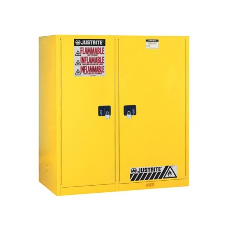 Sure-Grip® EX Dbl-Duty Safety Cabinet w/Drm Rlrs, partition/store drum/can, 3 shelves, 2 s/c doors