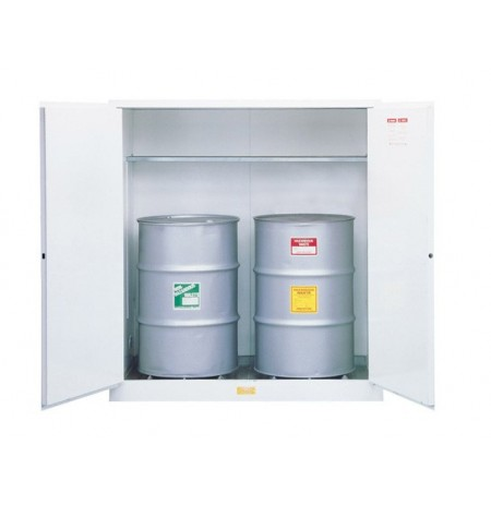 Flammable Waste Vertical Drum Safety Cabinet, Steel, Cap. 110-gallons, 1 shelf, 2 m/c doors