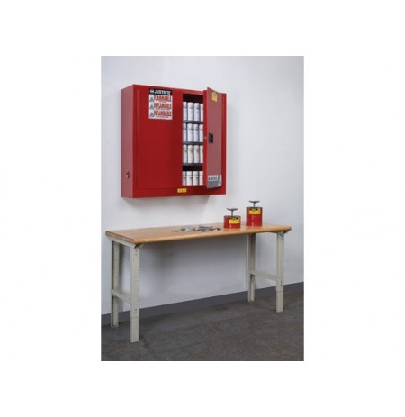 Sure-Grip® EX Wall Mount Aerosol Can Safety Cabinet, Cap. 20 gallons, 3 shelves, 2 m/c doors
