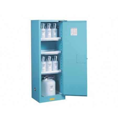 Sure-Grip® EX Slimline Corrosives/Acid Steel Safety Cabinet, Cap. 22 gal, 3 shelves, 1 s/c door