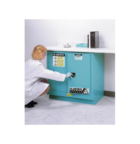 Sure-Grip® EX Undercounter Corrosives/Acid Stl Safety Cabinet, Cap. 22 gal, 1 shelf, 2 m/c doors