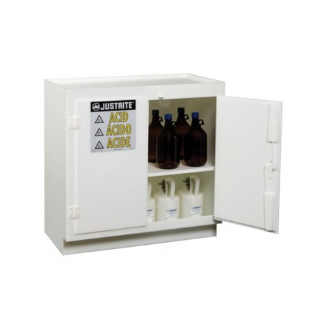 Freestanding corrosives/acid safety cabinet, Cap. thirty-six 2-1/2 ltr bottles, 2 door, poly