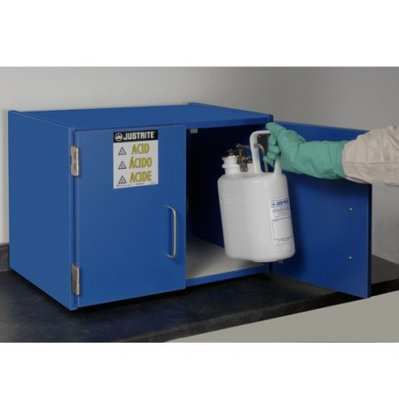 Wood laminate corrosives Countertop safety cabinet, Cap. six 2-1/2 liter bottles, 2 doors