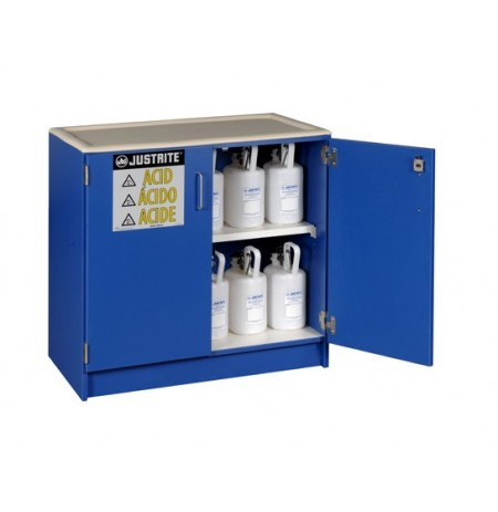 Wood laminate corrosives Undercounter safety cabinet, Cap. thirty-six 2-1/2 ltr bottles, 2 dr