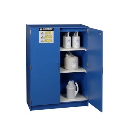 Wood laminate corrosives safety cabinet, Cap. forty-nine 2-1/2 liter bottles, 2 doors