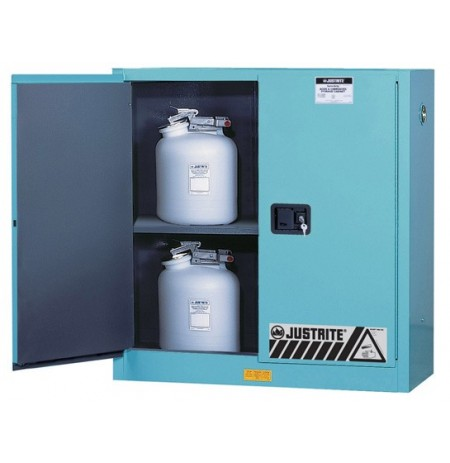 ChemCor® Corrosives/Acids Safety Cabinet, Cap. 30 gallons, 1 shelf, 2 manual-close doors
