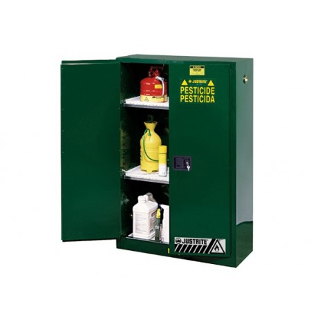 Sure-Grip® EX Pesticides Safety Cabinet, Cap. 45 gallons, 2 shelves, 2 manual-close doors