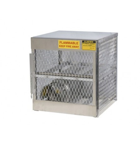 Cylinder locker for safe storage of 4 horizontal 20 or 33-lb. LPG cylinders.