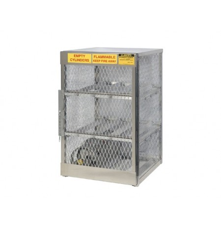 Cylinder locker for safe storage of 6 horizontal 20 or 33-lb. LPG cylinders.