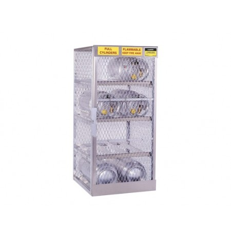 Cylinder locker for safe storage of 8 horizontal 20 or 33-lb. LPG cylinders.