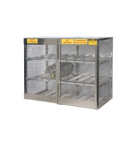 Cylinder locker for safe storage of 12 horizontal 20 or 33-lb. LPG cylinders.