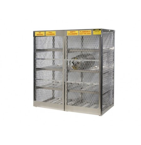 Cylinder locker for safe storage of 16 horizontal 20 or 33-lb. LPG cylinders.