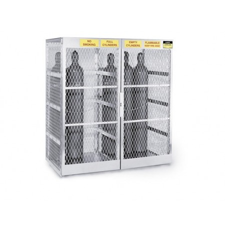 Cylinder locker for safe storage of up to 20 vertical Compressed Gas cylinders.