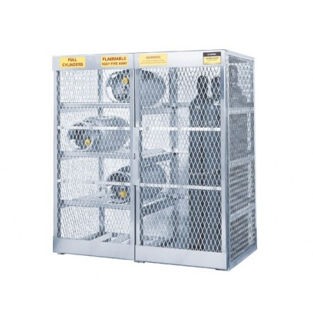 Cylinder locker combo for storage of 8 horizontal LPG and 10 vertical Compressed Gas cylinders.