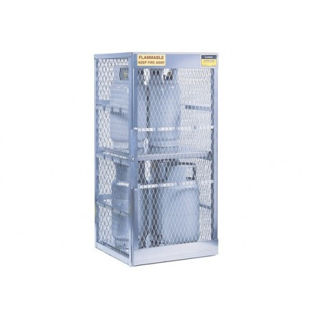Cylinder locker for safe storage of 8 vertical 20 or 33-lb. LPG cylinders.