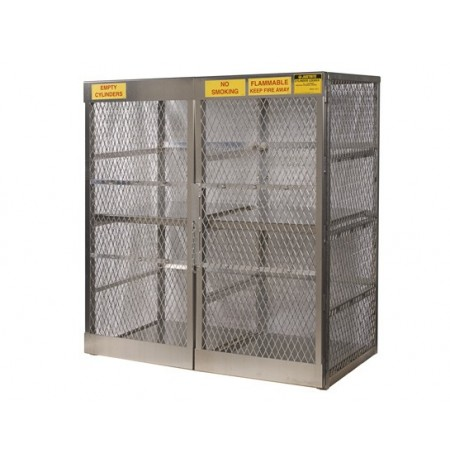Cylinder locker for safe storage of 16 vertical 20 or 33-lb. LPG cylinders.