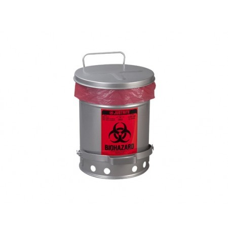 BIOHAZARD WASTE CAN, 6 GALLON, FOOT-OPERATED SELF-CLOSING SOUNDGARD™ COVER