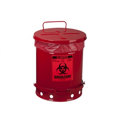 BIOHAZARD WASTE CAN, 10 GALLON, FOOT-OPERATED SELF-CLOSING COVER