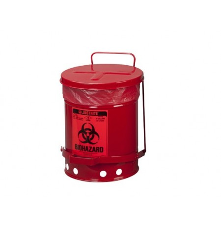 BIOHAZARD WASTE CAN, 6 GALLON, FOOT-OPERATED SELF-CLOSING COVER