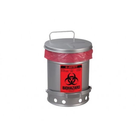 Biohazard Waste Can, 10 gallon, foot-operated self-closing SoundGard™ cover